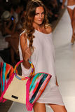 A model walks the runway at the Caffe Swimwear during MBFW Swim 2015 Royalty Free Stock Photos