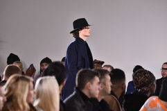 A model walks the runway at Carlos Campos fashion show during the New York Fashion Week Men's Fall/Winter 2016 Royalty Free Stock Photo