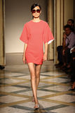 A model walks runway during the Chicca Lualdi show as a part of Milan Fashion Week Stock Photography