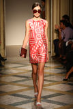 A model walks runway during the Chicca Lualdi show as a part of Milan Fashion Week Royalty Free Stock Photos