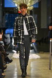 A model walks the runway at the Christopher Lowman Menswear FALL 2017 Collection. NEW YORK, NY - JANUARY 30: A model walks the runway at the Christopher Lowman Stock Photo