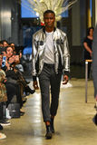 A model walks the runway at the Christopher Lowman Menswear FALL 2017 Collection. NEW YORK, NY - JANUARY 30: A model walks the runway at the Christopher Lowman Royalty Free Stock Image