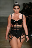 A model walks the runway at the Chromat AW15: Mindware fashion show during MBFW Fall 2015 Royalty Free Stock Image