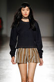 A model walks the runway during the Cristiano Burani fashion show Stock Photos