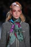 A model walks the runway for the Dan Liu collection. NEW YORK, NY - FEBRUARY 10: A model walks the runway for the Dan Liu collection during, New York Fashion royalty free stock photos