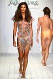 A model walks runway in designer swim apparel during the Luli Fama Swimwear fashion show Stock Photos