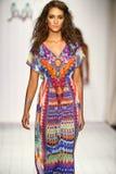 A model walks runway in designer swim apparel during the Luli Fama Swimwear fashion show Stock Photo