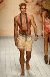 A model walks runway in designer swim apparel during the Maaji Swimwear fashion show Stock Photos