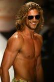 A model walks runway in designer swim apparel during the Maaji Swimwear fashion show Stock Photo