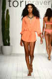 Model walks runway in designer swim apparel during the Tori Praver Swimwear fashion show Stock Photos