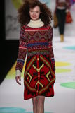 A model walks the runway at the Desigual fashion show during Mercedes-Benz Fashion Week Fall 2015 Royalty Free Stock Photos