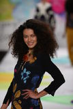 A model walks the runway at the Desigual fashion show during Mercedes-Benz Fashion Week Fall 2015 Stock Images