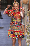A model walks the runway during the Dolce and Gabbana show Stock Photography