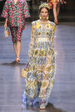 A model walks the runway during the Dolce and Gabbana show Royalty Free Stock Photos