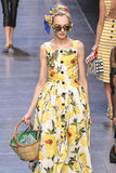 A model walks the runway during the Dolce and Gabbana show Royalty Free Stock Photo