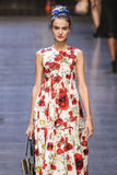 A model walks the runway during the Dolce and Gabbana show Royalty Free Stock Images