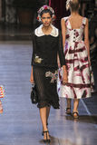 A model walks the runway during the Dolce and Gabbana show Stock Photo