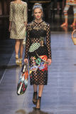 A model walks the runway during the Dolce and Gabbana show Royalty Free Stock Image