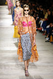 A model walks the runway during the Dries Van Noten show. PARIS, FRANCE - SEPTEMBER 30: A model walks the runway during the Dries Van Noten show as part of the Royalty Free Stock Photos