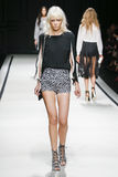 A model walks the runway during the Elisabetta Franchi fashion show Stock Photo