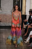 A model walks the runway at the Emilio Pucci show as a part of Milan Fashion Week Royalty Free Stock Photography