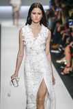 A model walks the runway during the Ermanno Scervino show Stock Images