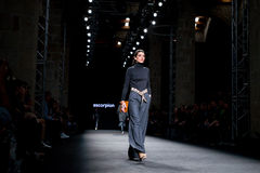 A model walks the runway for the Escorpion collection Stock Image