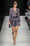 A model walks the runway during the Giorgio Armani fashion show Royalty Free Stock Photos