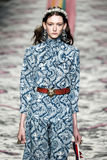 A model walks the runway during the Gucci show Royalty Free Stock Photography