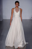 A model walks runway at Hayley Paige fashion show during Fall 2015 Bridal Collection. NEW YORK, NY - OCTOBER 10: A model walks runway at Hayley Paige fashion Stock Photo