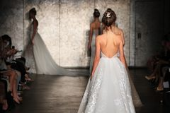 A Model walks the runway for Inbal Dror Bridal show Fall/Winter 2018 Collection. NEW YORK - OCTOBER 5: A model walks the runway for Inbal Dror Bridal show Fall/ stock images