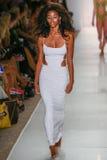 A model walks runway at the Indah fashion show during MBFW Swim 2015. MIAMI, FL - JULY 21: A model walks runway at the Indah fashion show during MBFW Swim 2015 Royalty Free Stock Photos