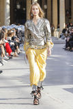 A model walks the runway during the Isabel Marant show Royalty Free Stock Photos