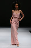 A model walks runway at Ivy and Aster fashion show during Fall 2015 Bridal Collection Royalty Free Stock Image