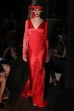 A model walks runway at Johanna Johnson runway Show during Fall 2015 Bridal Collection Royalty Free Stock Image