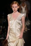 A model walks runway at Johanna Johnson runway Show during Fall 2015 Bridal Collection Royalty Free Stock Photography