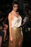 A model walks runway at Johanna Johnson runway Show during Fall 2015 Bridal Collection Royalty Free Stock Images