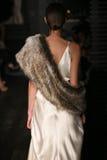 A model walks runway at Johanna Johnson runway Show during Fall 2015 Bridal Collection Stock Photography