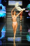 A model walks the runway for Kya Swim during the Paraiso Fashion Fair royalty free stock photos