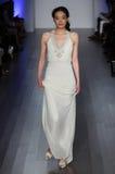A model walks runway at Lazaro fashion show during Fall 2015 Bridal Collection Royalty Free Stock Image