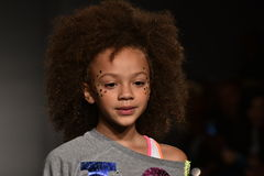 A model walks runway at Little Miss Matched Fall/Winter 2016 Runway Show during petiteParade Stock Images