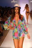 A model walks the runway at the Luli Fama during MBFW Swim 2015 Royalty Free Stock Photo