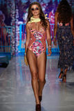 A model walks the runway at the Maaji Swimwear fashion show during MBFW Swim 2015 Stock Photography
