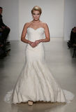 A model walks runway at Matthew Christopher fashion show during Fall 2015 Bridal Collection Stock Photos