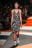 A model walks the runway during the Missoni show Royalty Free Stock Photography