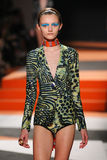 A model walks the runway during the Missoni show Royalty Free Stock Image