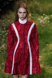 A model walks the runway during the Moncler Gamme Rouge show Royalty Free Stock Images