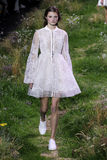 A model walks the runway during the Moncler Gamme Rouge show Royalty Free Stock Photography