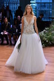 A model walks the runway at the Monique Lhuillier Fall 2017 Bridal collection show Royalty Free Stock Photos