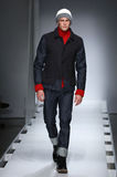 A model walks the runway at the Nautica Men's Fall 2016 fashion show. NEW YORK, NY - FEBRUARY 02: A model walks the runway at the Nautica Men's Fall 2016 fashion royalty free stock images